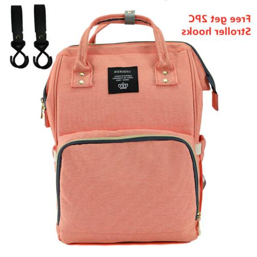 Mommy Nappy Bag Capacity Backpack w/ Hooks