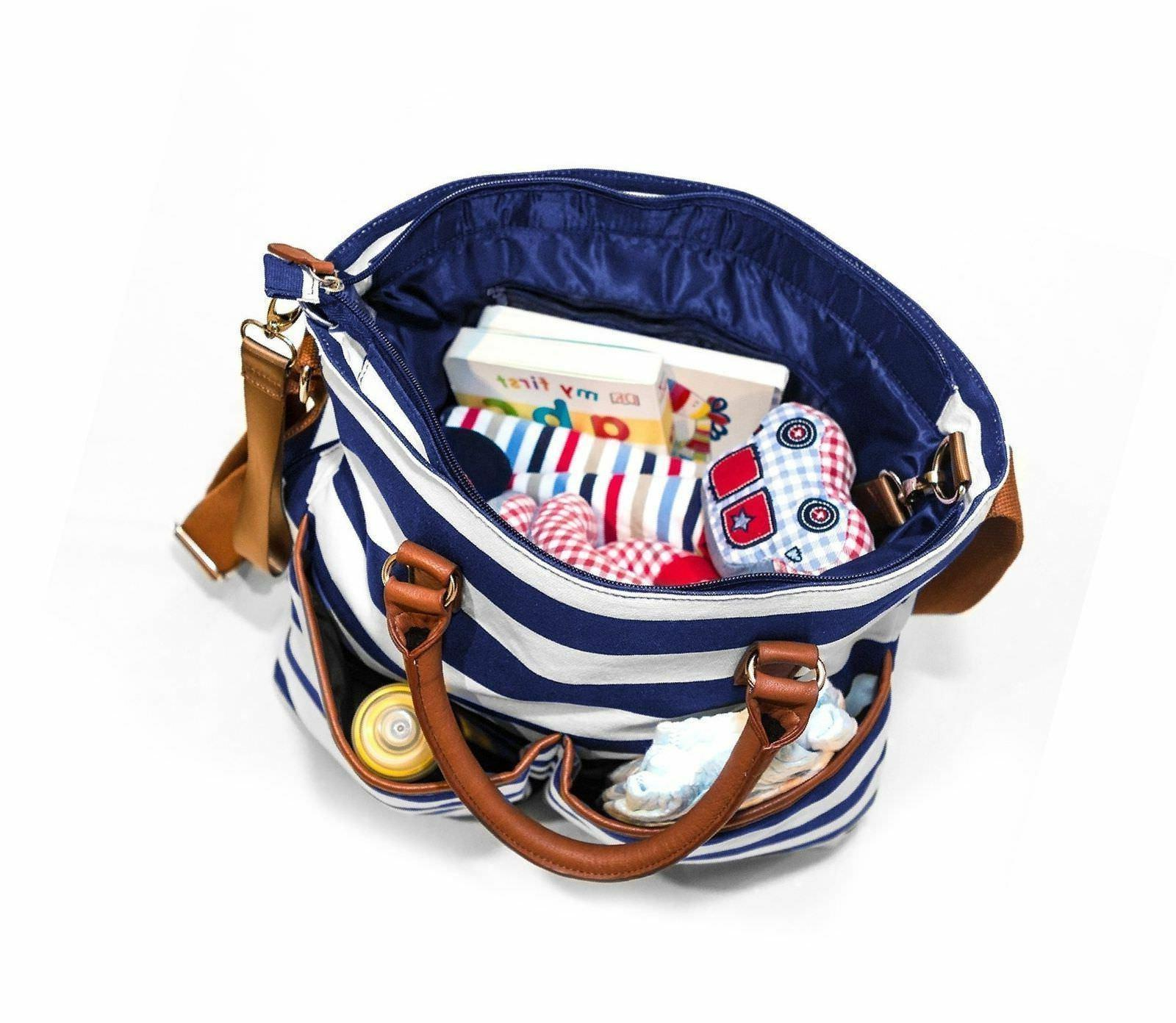 Navy and White Diaper Bag by Cub