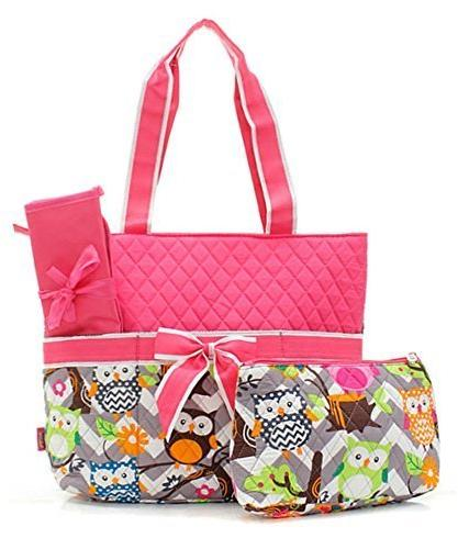 Owl Print Fashion Design Quilted 3 Piece Diaper Bag