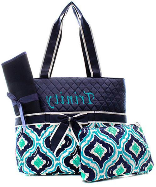 personalized retro moroccan quilted 3pcs diaper bag
