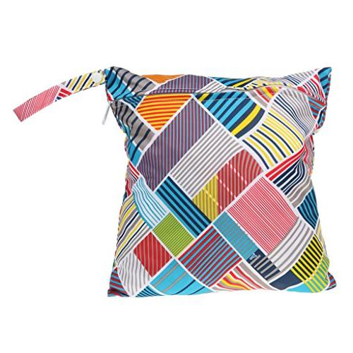 MagiDeal Baby Protable Nappy Reusable Washable Wet Dry Cloth Zipper Waterproof Diaper Bag with Colorful Checked Pattern