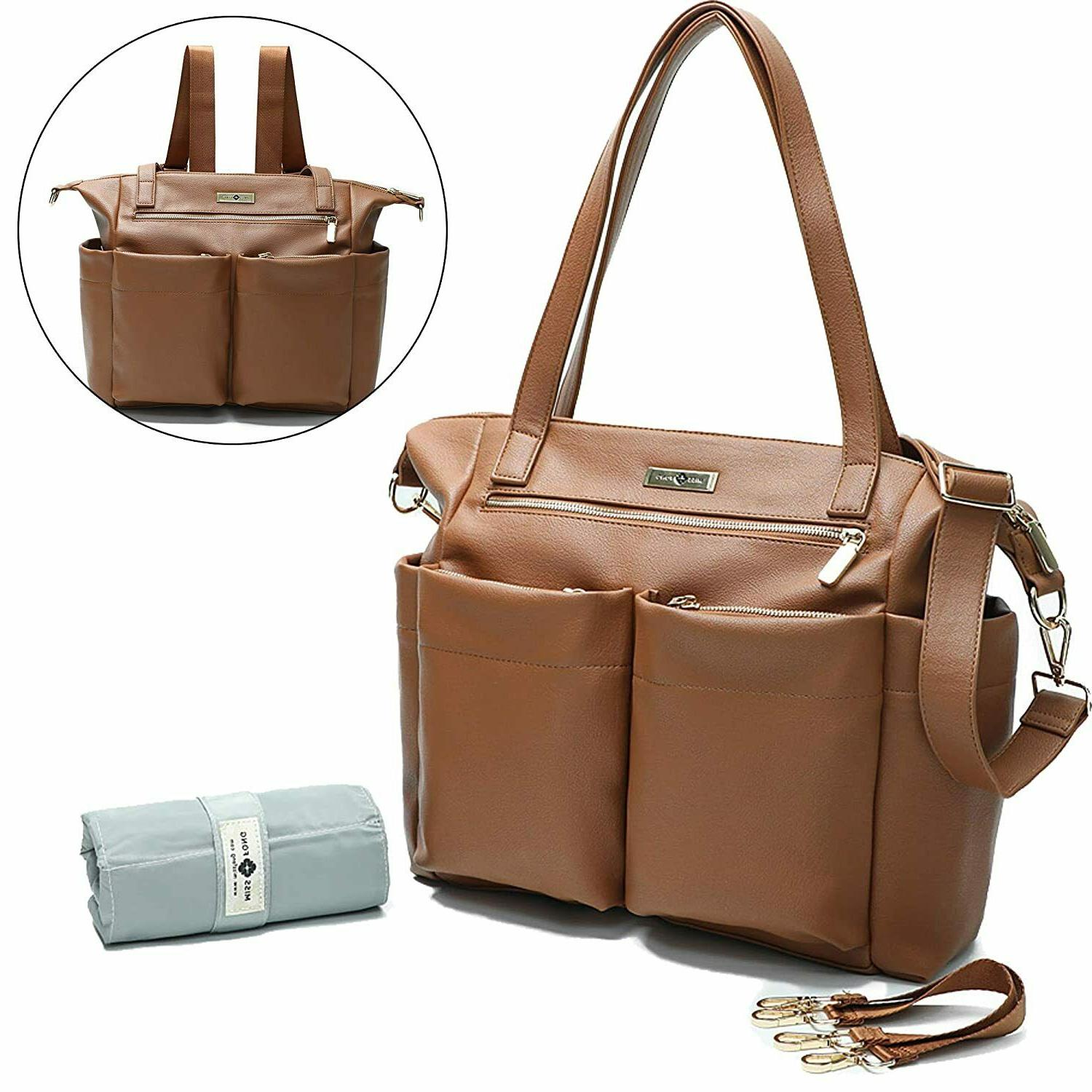 pu leather diaper bag backpack convertible insulated