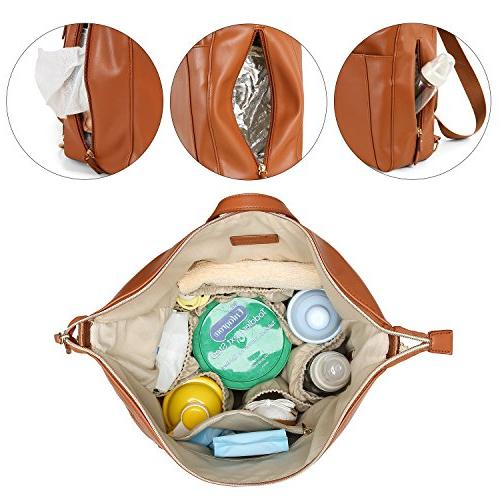 mommore PU Leather Diaper Bag Bags Insulated