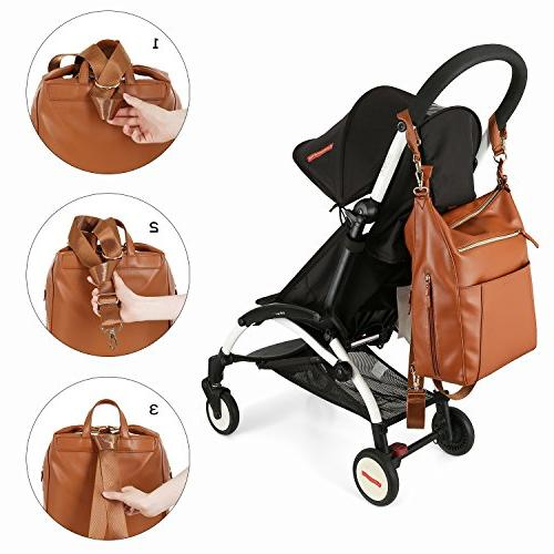 mommore Diaper Bag Bags Changing Insulated Brown