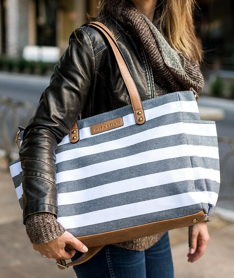 The Tote Bag by Elm Gray Stripe | Bag | Laptop