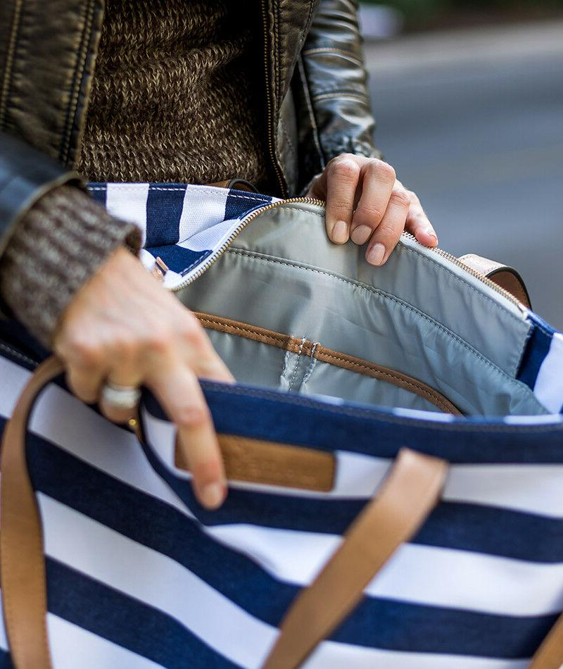 The by | Navy Blue Stripe | Diaper Bag