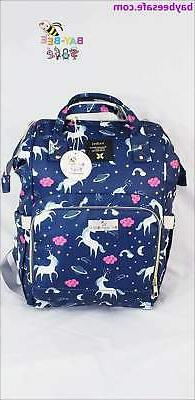 Unicorn Cloud Star Pattern Waterproof Diaper Bag Backpack  -