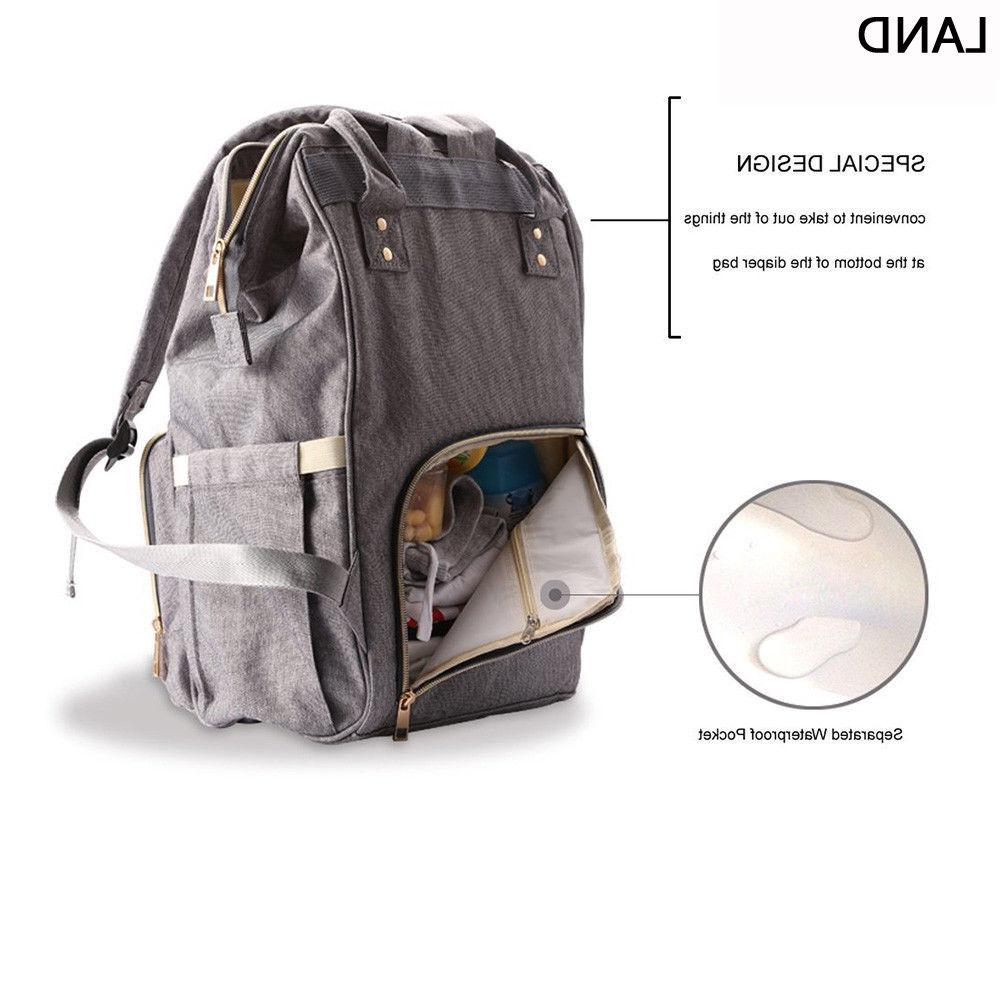 LAND Mummy Backpack Bags Large Multifunctional Baby Nappy
