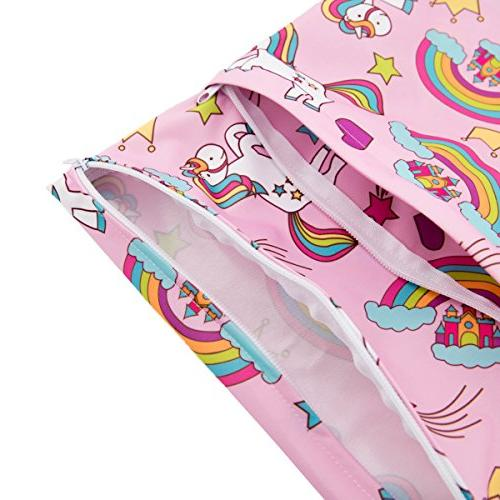 ALVABABY 2pcs Cloth Wet/Dry Bags|Waterproof Reusable with Items,Yoga,Gym or