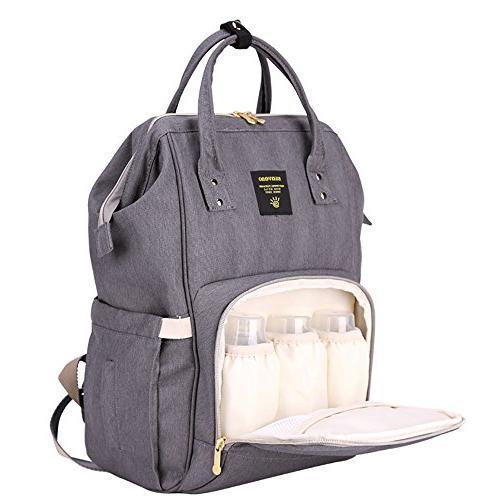 Wide Open Waterproof Baby Diaper Bag, Nappy w/Insulated Pockets