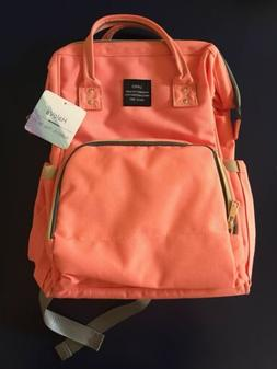 HaloVa Land Diaper Bag Insulated Backpack Style In Salmon/Gr