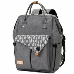 Lekebaby Large Diaper Bag Backpack for Mom in Grey with Arro