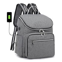 Large Mummy Diaper Bag Baby Nappy USB Port Travel Backpack M