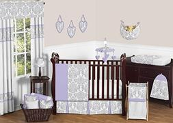 Lavender, Gray and White Elizabeth Damask Print Baby Bedding