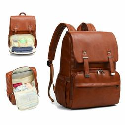 PU Leather Baby Nappy Diaper Bag Backpack Changing Pad Insul
