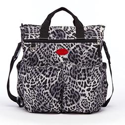 Leopard Print Diaper Bag With Shoulder Strap Can Hang On Str