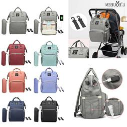 LEQUEEN Waterproof Diaper Bag USB Charging Large Capacity Mu