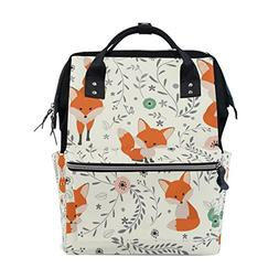 ALAZA Lovely Seamless Pattern with Fox Fashion Diaper Bags M