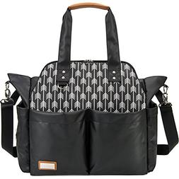 Lekebaby Messenger Diaper Bag with Changing Pad for Mom and