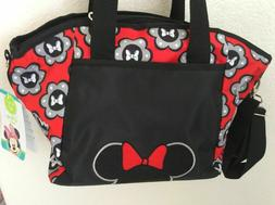 Disney Minnie Mouse 5-in-1 Diaper Tote Bag Set - Black and R