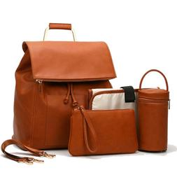 PU Leather Diaper Bag Backpack With Shoulder Strips Changing