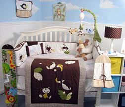 SoHo Monkey Business Baby Crib Nursery Bedding Set 13 pcs in