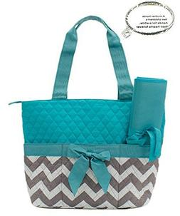 Monogram Ready Quilted Aqua and Gray Chevron Print 3pc Diape