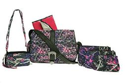 Muddy Girl Pink Purple Camo Quilted Diaper Bag Crossbody Pur