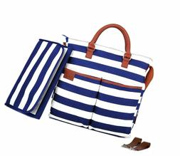 navy and white striped diaper bag by