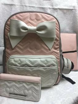 New Betsey Johnson Baby Diaper Bag Bow Pink Gray Backpack W/