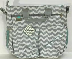**NEW** LINAME Gray & White Diaper Bag Tote with Changing Pa