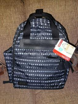NEW NWT Skip Hop Riverside Black Gray Dots Diaper Backpack B