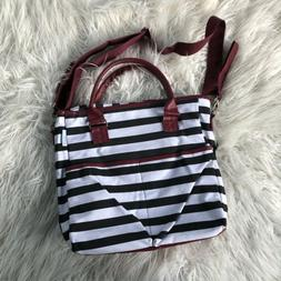 New Striped Black Red White Cotton Diaper Bag including Chan
