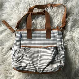 New Striped Grey White Tan Cotton Diaper Bag including Chang