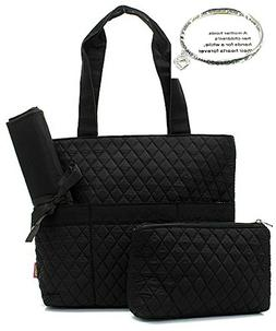 NGil Solid Black Quilted Diaper Bag