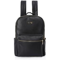 Nurture Diaper Bag Backpack - Stylish Designer Black Leather