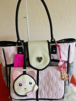 NWT Betsey Johnson Flap Over Diaper Bag Grey Multi Color 3 P