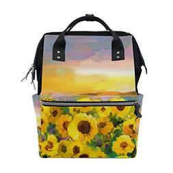 ALAZA Oil Painting Yellow Sunflower Diaper Bags Mummy Backpa