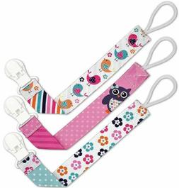 Liname Pacifier Clip for Girls with BONUS eBook - 3 Pack Gif