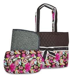 Paisley Quilted Diaper Bag Tote Purse Handbag with Change Ch