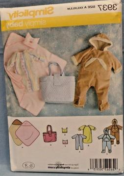 SIMPLICITY PATTERN 3937 ROMPER DIAPER BAG BLANKET BABY SIZES