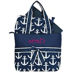Personalized Navy Anchor Quilted Diaper Tote Bag