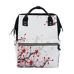 ALAZA Pink Flower Branches Diaper Bags Mummy Backpack Multi