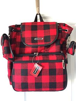 Maggi B Baby Plaid Red Black Cloth Knapsack Backpack with Di