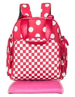 Fashion Polka Dot Baby Diaper Bag Back Pack Waterproof Trave