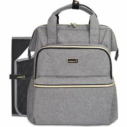 Liname Premium Gray Diaper Bag Backpack w/ Changing Pad X-Wi