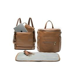 Miss Fong PU LEATHER Diaper Bag Backpack Convertible Insulat