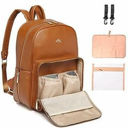 PU Leather Diaper Bag Backpack - Nappy Bag Baby Bags for Mom