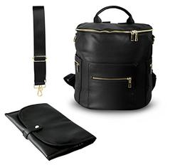PU Leather Diaper Bag Backpack, Shoulder and Convertible Int