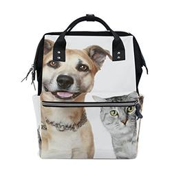 ALAZA Puppy Dog and Gray Cat Fashion Diaper Bags Mummy Backp